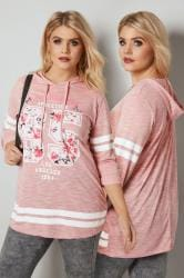 Pink & White Varsity Slogan Print Hooded Sweatshirt