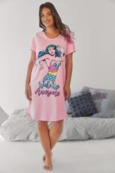 Pink Wonder Woman Print Longline Nightdress