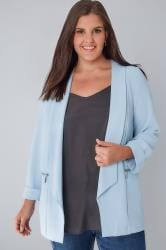 Powder Blue Bubble Crepe Blazer Jacket With Zip Pockets