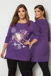 Purple Bird Print Top With Sequin Details