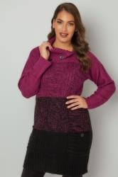 Purple & Black Cable Knit Tunic Dress With Split Neck & Pockets