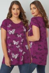 Purple Butterfly Print T-Shirt With Foil Detail