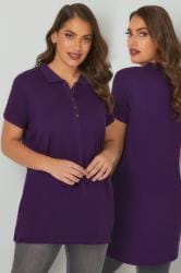 Purple Button Up Polo Shirt