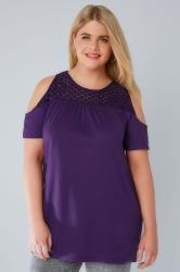 Purple Cold Shoulder Jersey Top With Lace Yoke