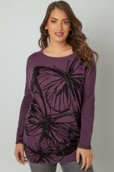 Purple Fine Knit Jumper With Embellished Butterfly Print & Ribbed Sleeves