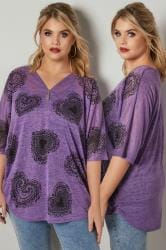 Purple Fine Knit Top With Lacy Heart Print