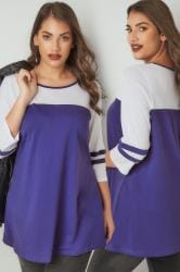 Purple Jersey Colour Block Top With 3/4 Length Sleeves