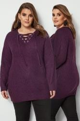Purple Knitted Jumper With Eyelet Lattice Front