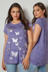 Purple Marl Butterfly Print T-Shirt With Foil Detail