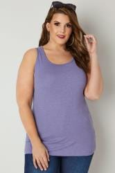 Purple Marl Cotton Vest Top