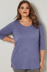 Purple Marl Seamed Scoop Neck Top