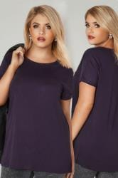 Purple Mock Pocket T-Shirt With Curved Hem