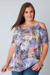 Purple & Multi Burn Out Animal Print Cold Shoulder Top