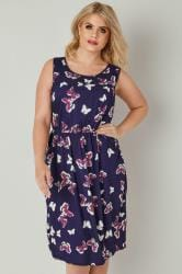 Purple & Multi Butterfly Print Pocket Dress With Elasticated Waist