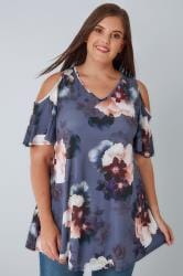 Purple & Multi Cold Shoulder Floral Swing Top