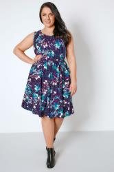 Purple & Blue Floral Pocket Dress With Elasticated Waistband