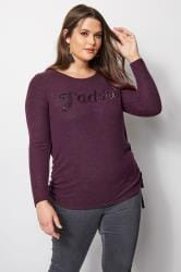 Purple Ombre Sequin Slogan Knitted Top