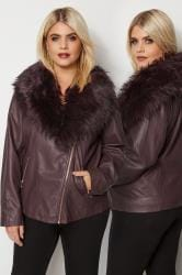 Burgundy PU Leather Look Biker Jacket With Faux Fur Collar
