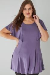 Purple Peplum Top With Frill Angel Sleeves