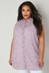 Purple & Pink Floral Chiffon Sleeveless Shirt