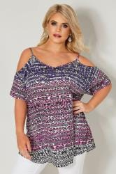 Purple & Pink Printed Cold Shoulder Top