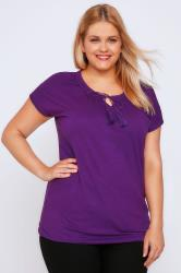 Purple Short Sleeve Cotton Gypsy Top With Tassel Tie