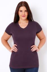 Purple Short Sleeved V-Neck Basic T-Shirt