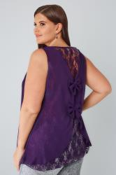 Purple Sleeveless Top With Lace Back & Double Bow Detail