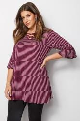 Purple Stripe Lattice Front Top With Eyelet Flute Sleeves