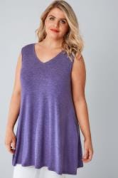 Purple Stud Embellished Fine Knit Sleeveless Swing Top
