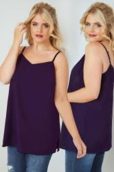 Purple Woven Cami Top With Side Splits