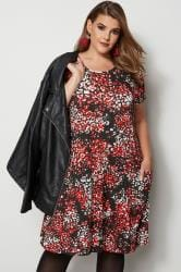 Red Animal Print Drape Pocket Dress