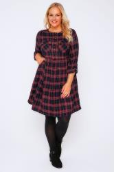 Red & Black Check Shirt Dress With Tie Waist