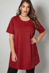 Red & Black Dog Tooth Checked Tunic Dress With Front Pockets
