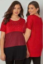 Red, Burgundy & Black Colour Block Top Gem Embellishment