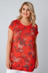 Red Butterfly Print T-Shirt With Foil Detail