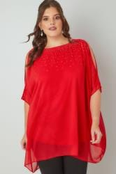 Red Cold Shoulder Chiffon Cape Blouse With Diamante Embellishment
