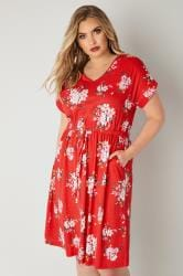 Red Floral Print T-Shirt Dress With Pockets & Elasticated Waistband