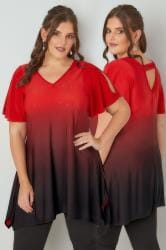 Red Ombre Longline Top With Stud Details & Hanky Hem