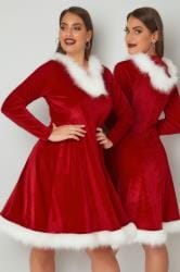 Red Christmas Santa Skater Dress With Faux Fur Trims