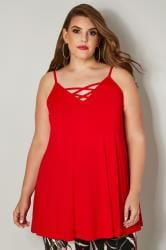 Red V-Neck Vest Top With Cross Front Detail