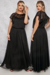 SCARLETT & JO Black Maxi Dress With Elasticated Waist & Jewel Embellished Neckline