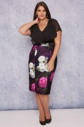 SCARLETT & JO Black, Purple & Multi Floral Print Midi Dress With Angel Sleeves