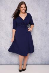 SCARLETT & JO Blue Wrap Dress With Jewel Embellishment Detail