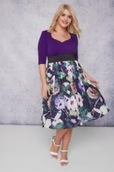SCARLETT & JO Purple & Multi 2 In 1 Floral Print Dress