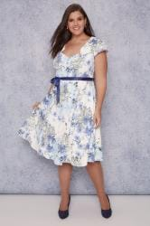 SCARLETT & JO White, Blue & Yellow Floral Print Dress With Tie Waist