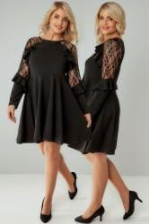 SIENNA COUTURE Black Lace Sleeve Frilled Skater Dress