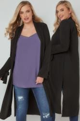 SIENNA COUTURE Black Lightweight Duster Jacket With Tie Sleeves