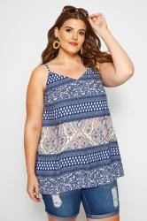 Blue Mixed Print Cami Top