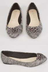 Silver Textured Ballerina Pumps With Jewel Detail In E Fit
